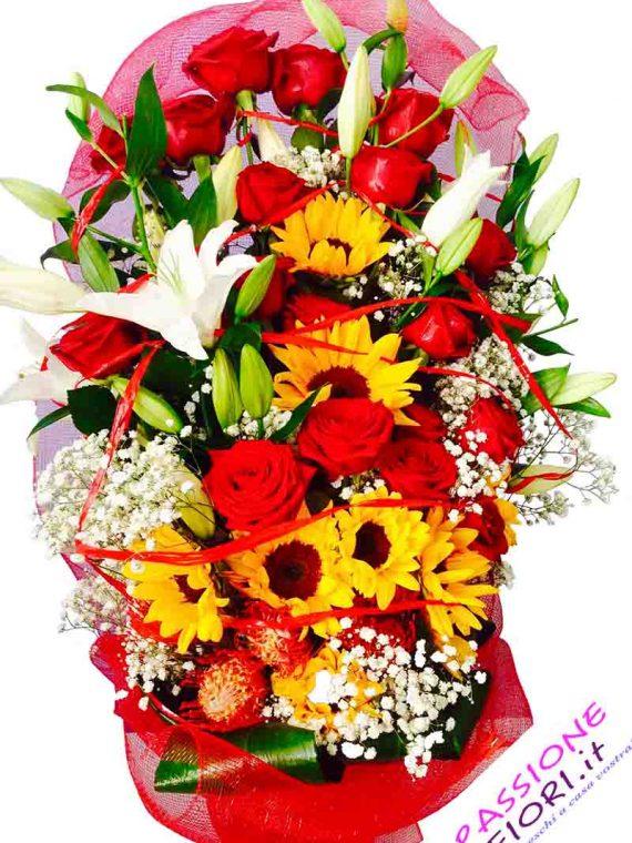 12 rose rosse con girasoli