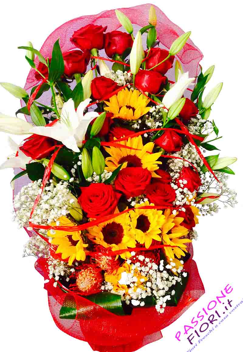12 rose rosse e girasoli fiori freschi for Quadri con rose rosse