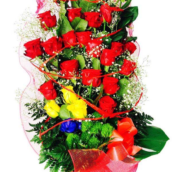 Mazzo 20 Rose Colorate a Scelta