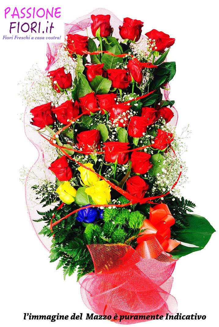 Mazzo Fiori.Mazzo 20 Rose Colorate A Scelta Passionefiori It Fiori Freschi A