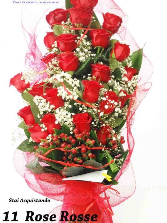 mazzo 11 rose rosse