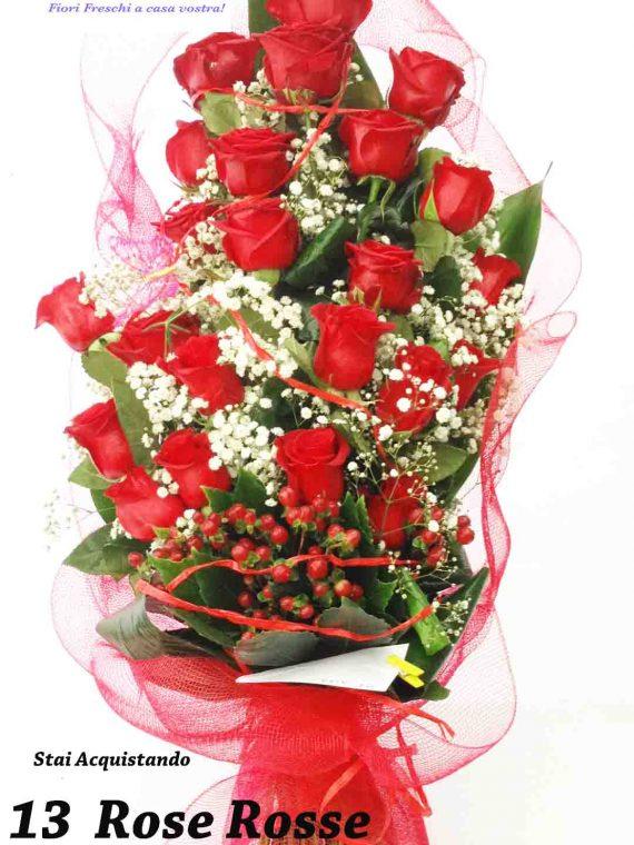 mazzo 13 rose rosse