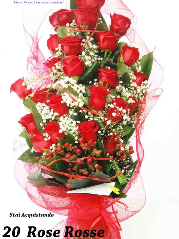mazzo 20 rose rosse