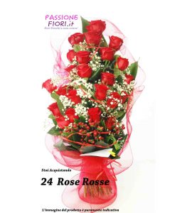 mazzo 24  rose rosse
