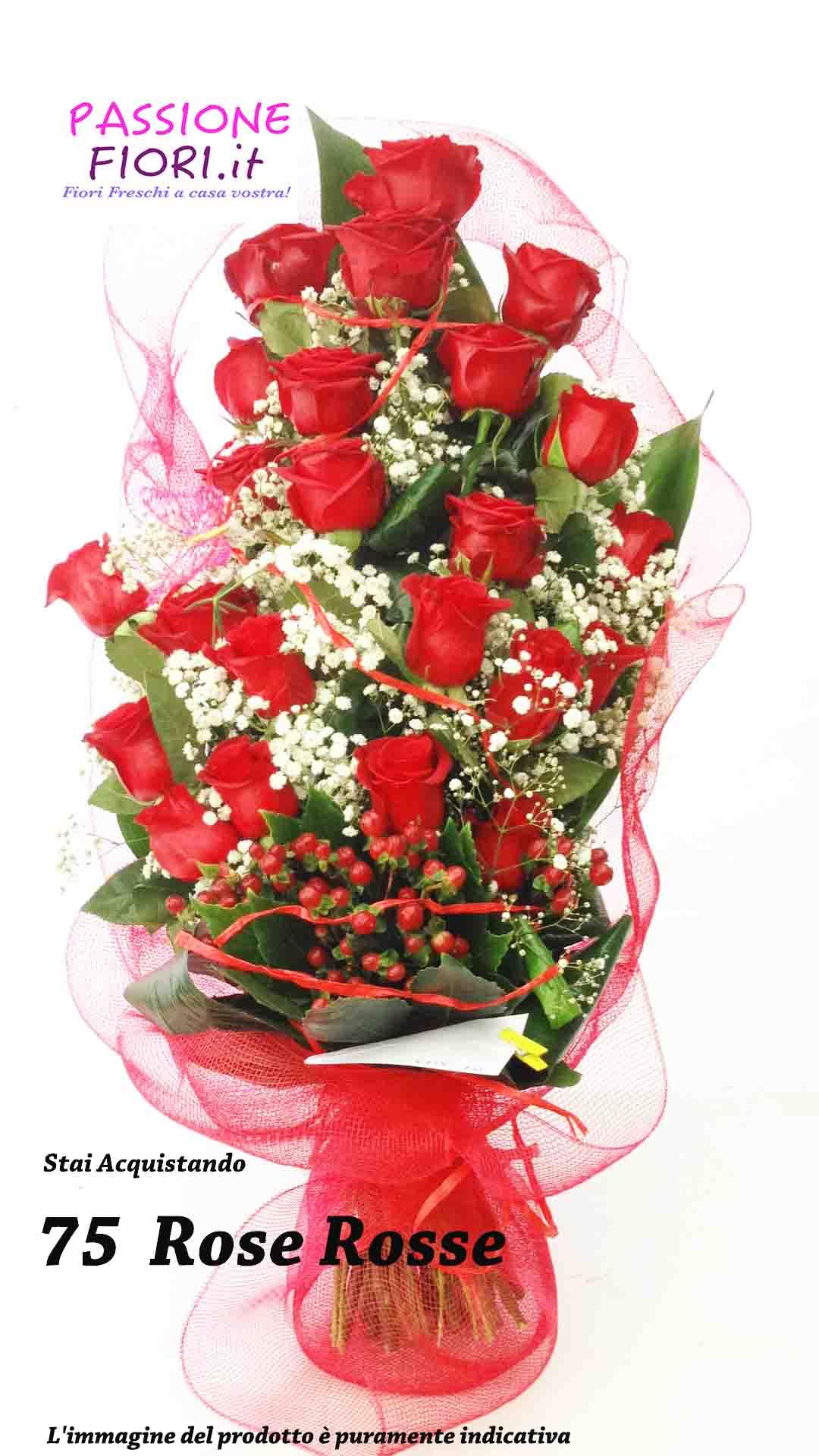mazzo 75 rose rosse
