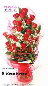 mazzo 9 rose rosse