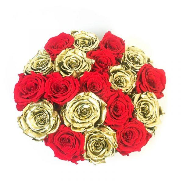 Scatola Tonda, Cilindro in Velluto 18 Rose stabilizzate Rosse e Oro