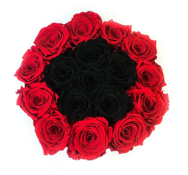 Scatola Tonda, Cilindro in Velluto 18 Rose stabilizzate Rosse e nere
