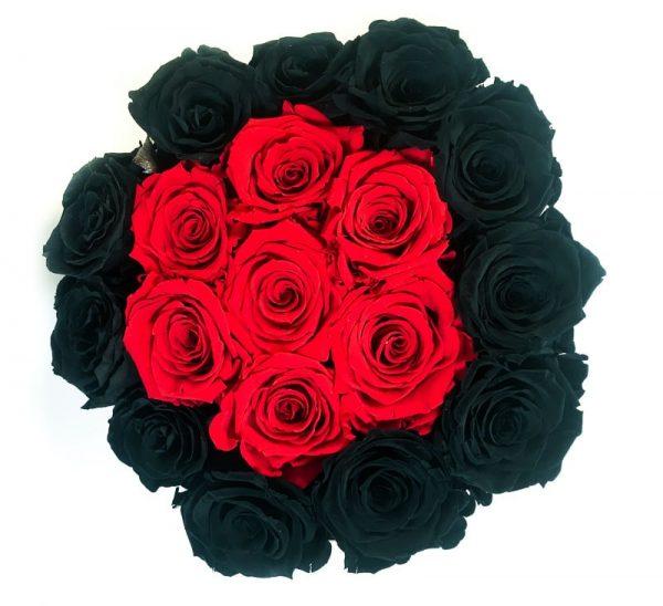 Scatola Tonda, Cilindro in Velluto 18 Rose stabilizzate Nera e Rosso