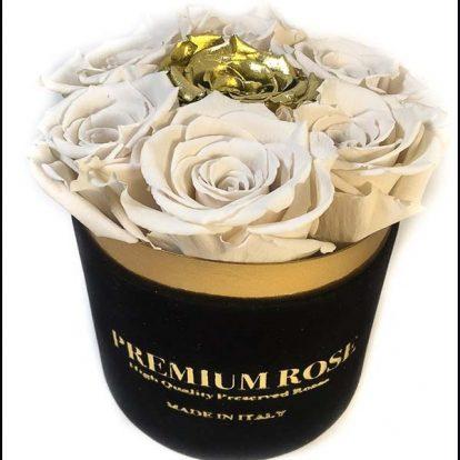 Scatola Tonda, Cilindro in Velluto 7 Rose stabilizzate Bianco e oro