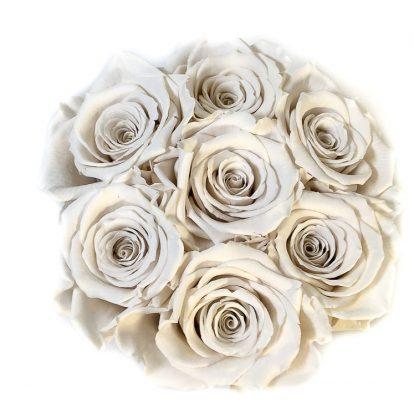 Scatola Tonda, Cilindro in Velluto 7 Rose stabilizzate Bianco