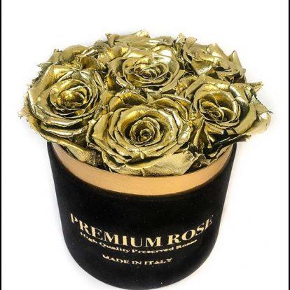 Scatola Tonda, Cilindro in Velluto 7 Rose stabilizzate Oro