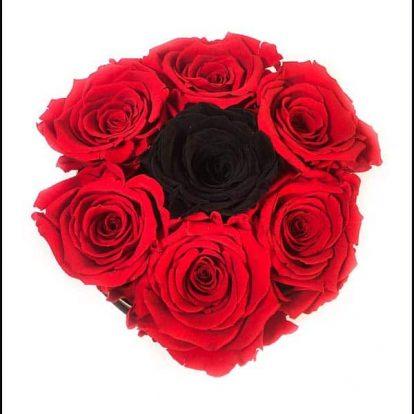 Box 7 Rose Rossa e Nera in scatola tonda, Cilindro in velluto